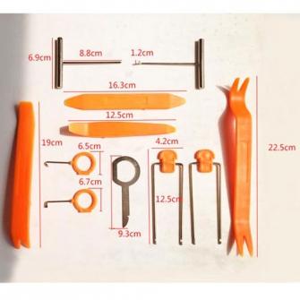 Набор съемников для демонтажа облицовочных панелей и магнитол (12 предметов)
